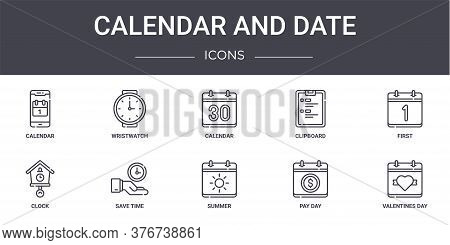 Calendar And Date Concept Line Icons Set. Contains Icons Usable For Web, Logo, Ui Ux Such As Wristwa