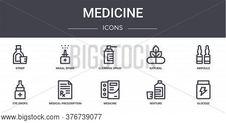 Medicine Concept Line Icons Set. Contains Icons Usable For Web, Logo, Ui Ux Such As Nasal Spray, Nat