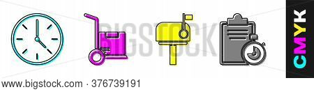 Set Clock, Hand Truck And Boxes, Mail Box And Verification Of Delivery List Clipboard Icon. Vector