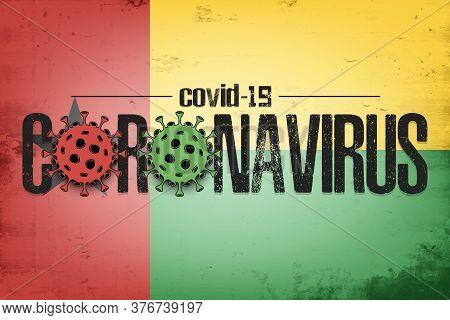 Flag Of Guinea-bissau With Coronavirus Covid-19. Virus Cells Coronavirus Bacteriums Against Backgrou