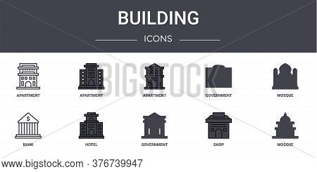 Building Concept Line Icons Set. Contains Icons Usable For Web, Logo, Ui Ux Such As Apartment, Gover