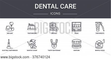 Dental Care Concept Line Icons Set. Contains Icons Usable For Web, Logo, Ui Ux Such As Toothbrush, X