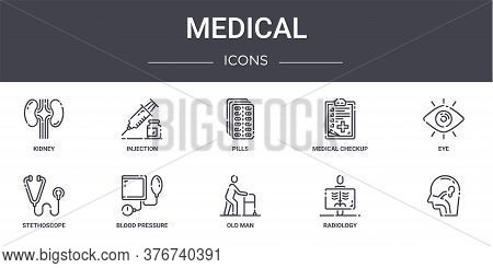 Medical Concept Line Icons Set. Contains Icons Usable For Web, Logo, Ui Ux Such As Injection, Medica