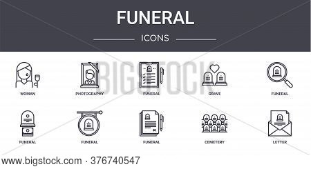 Funeral Concept Line Icons Set. Contains Icons Usable For Web, Logo, Ui Ux Such As Photography, Grav