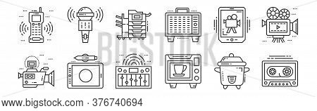 12 Set Of Linear Technology Devices Icons. Thin Outline Icons Such As Casette, Microwave Oven, Graph