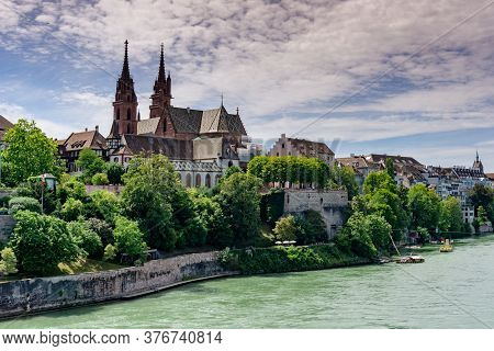 View Of The Historic Old Town Of Basel On The Rhine