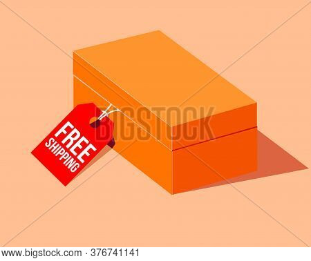 Free Shipping Cardboard Box. Free Shipping Text Over Cardboard Box Isolated. Vector Illustration.ora