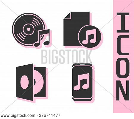 Set Music Player, Vinyl Disk, Vinyl Player With A Vinyl Disk And Music Book With Note Icon. Vector