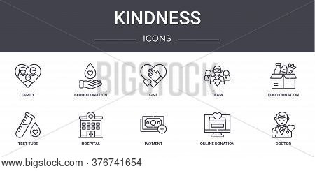 Kindness Concept Line Icons Set. Contains Icons Usable For Web, Logo, Ui Ux Such As Blood Donation,