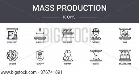 Mass Production Concept Line Icons Set. Contains Icons Usable For Web, Logo, Ui Ux Such As Unboxing,