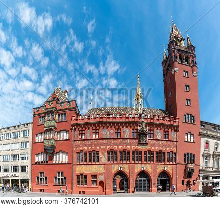 Basel, Bl / Switzerland - 8 July 2020: View Of The Historic City Hall Building In Downtown Basel