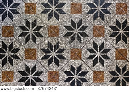 Old-fashioned Antique Brown Beige Floor Tiles In A Characteristic Old Farmhouse In The Netherlands A