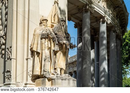 Madrid, Spain - July 12, 2020: Monument To King Alfonso Xii In Buen Retiro Park Of Madrid.