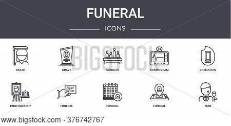 Funeral Concept Line Icons Set. Contains Icons Usable For Web, Logo, Ui Ux Such As Grave, Cardiogram