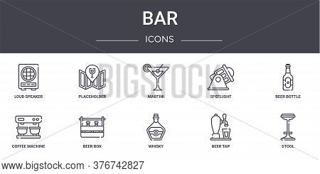 Bar Concept Line Icons Set. Contains Icons Usable For Web, Logo, Ui Ux Such As Placeholder, Spotligh
