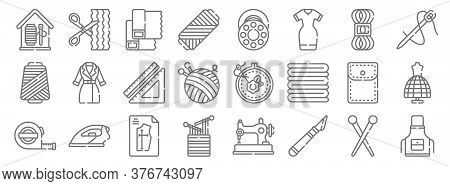 Sewing Line Icons. Linear Set. Quality Vector Line Set Such As Apron, Cutter, Weave, Measuring Tape,