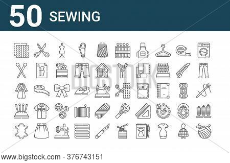 Set Of 50 Sewing Icons. Outline Thin Line Icons Such As Thread, Leather, Pincushion, Jacket, Pins, S