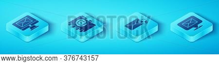 Set Isometric Monitor And Envelope, Address Book, Speech Bubble With Envelope And Envelope With Shie