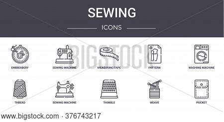 Sewing Concept Line Icons Set. Contains Icons Usable For Web, Logo, Ui Ux Such As Sewing Machine, Pa
