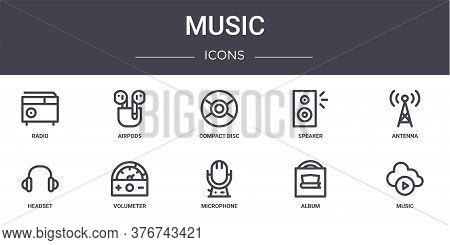 Music Concept Line Icons Set. Contains Icons Usable For Web, Logo, Ui Ux Such As Airpods, Speaker, H