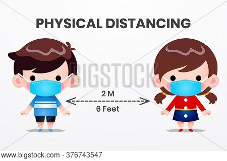 Illustration Vector Graphic Physical Distancing, Social Distancing Kids. Boy And Girl Character Wear