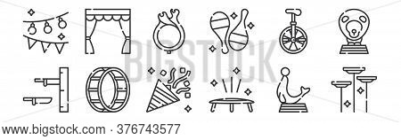 12 Set Of Linear Circus Icons. Thin Outline Icons Such As Spinning Plates, Trampoline, Wheel, Unicyc