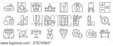 Academy Line Icons. Linear Set. Quality Vector Line Set Such As Desk, Sports, Student, Crayon, Glue
