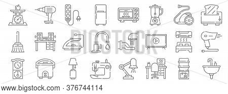 Home Appliances Line Icons. Linear Set. Quality Vector Line Set Such As Sink, Workplace, Sewing Mach