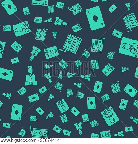 Set Slot Machine, Playing Card With Diamonds, Casino Dealer And Casino Dealer On Seamless Pattern. V
