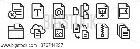 12 Set Of Linear Document And Files Icons. Thin Outline Icons Such As File, Transfer, File, Presenta