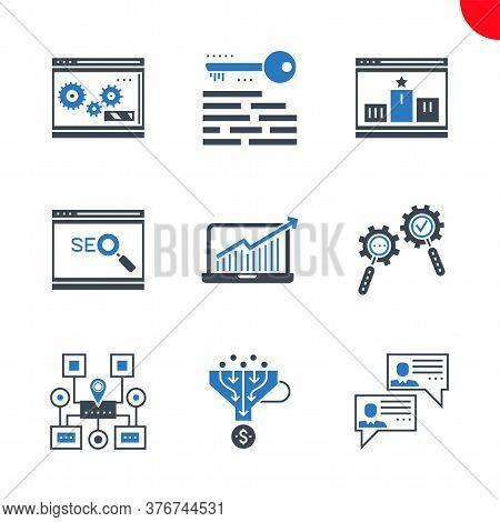 Seo Related Vector Glyph Icons Set. Social Chanels, Keywording, Sales Funnel, Sitemap Navigation, Se