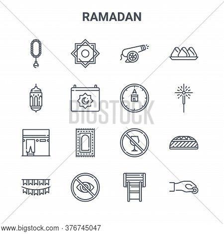 Set Of 16 Ramadan Concept Vector Line Icons. 64x64 Thin Stroke Icons Such As Rub El Hizb, Lantern, S