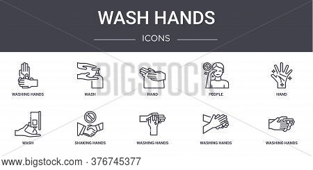 Wash Hands Concept Line Icons Set. Contains Icons Usable For Web, Logo, Ui Ux Such As Wash, People,
