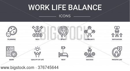 Work Life Balance Concept Line Icons Set. Contains Icons Usable For Web, Logo, Ui Ux Such As Rich, C