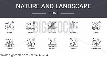 Nature And Landscape Concept Line Icons Set. Contains Icons Usable For Web, Logo, Ui Ux Such As Sunb