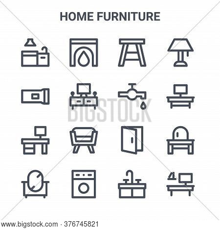 Set Of 16 Home Furniture Concept Vector Line Icons. 64x64 Thin Stroke Icons Such As Fireplace, Flash