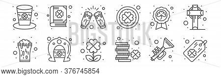 12 Set Of Linear Saint Patrick Icons. Thin Outline Icons Such As Tag, Coins, Horseshoe, Badge, Celeb