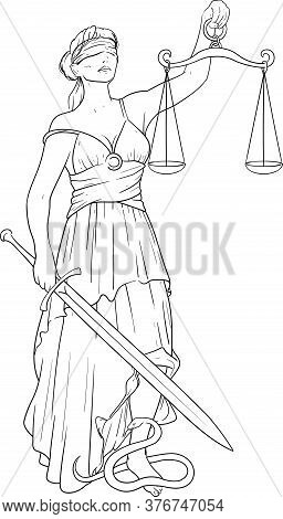 Simple Black Silhouette Of Themis Goddess Of Justice With A Blindfold And A Scale In One Hand And A