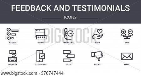 Feedback And Testimonials Concept Line Icons Set. Contains Icons Usable For Web, Logo, Ui Ux Such As