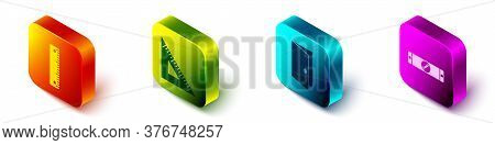 Set Isometric Ruler, Triangular Ruler, Closed Door And Construction Bubble Level Icon. Vector