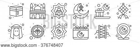 12 Set Of Linear Islam And Ramadan Icons. Thin Outline Icons Such As Muslim, Calendar, Qibla, Gift,