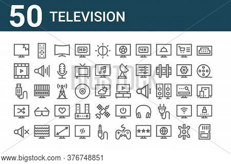 Set Of 50 Television Icons. Outline Thin Line Icons Such As Memory Card, Mute, Shuffle, Usb Cable, M