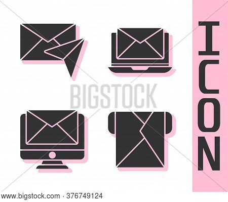 Set Envelope, Envelope, Monitor And Envelope And Laptop With Envelope Icon. Vector