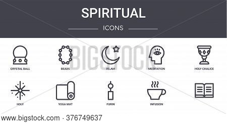 Spiritual Concept Line Icons Set. Contains Icons Usable For Web, Logo, Ui Ux Such As Beads, Meditati