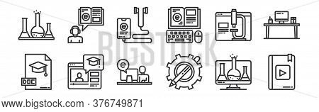 12 Set Of Linear Elearning Icons. Thin Outline Icons Such As Ebook, Sketch, Online Learning, Online