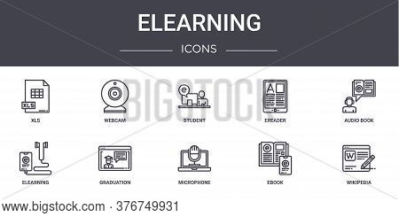 Elearning Concept Line Icons Set. Contains Icons Usable For Web, Logo, Ui Ux Such As Webcam, Ereader
