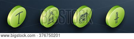 Set Isometric Pickaxe, Alcohol Drink Rum Bottle, Western Stagecoach And Military Knife Icon. Vector