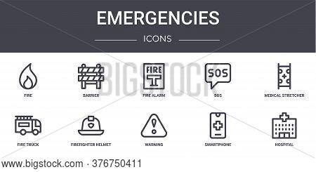 Emergencies Concept Line Icons Set. Contains Icons Usable For Web, Logo, Ui Ux Such As Barrier, Sos,