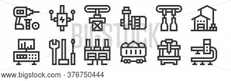 12 Set Of Linear Manufacturing Icons. Thin Outline Icons Such As Conveyor Belt, Coal, Tools, Conveyo