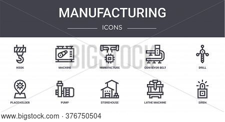 Manufacturing Concept Line Icons Set. Contains Icons Usable For Web, Logo, Ui Ux Such As Machine, Co